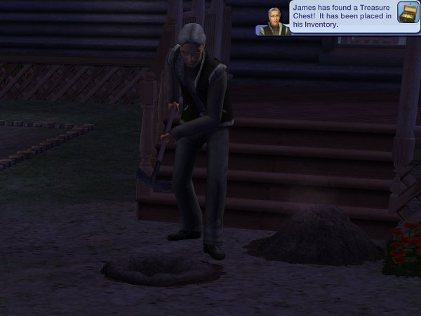 Digging in the dark, James finds a chest
