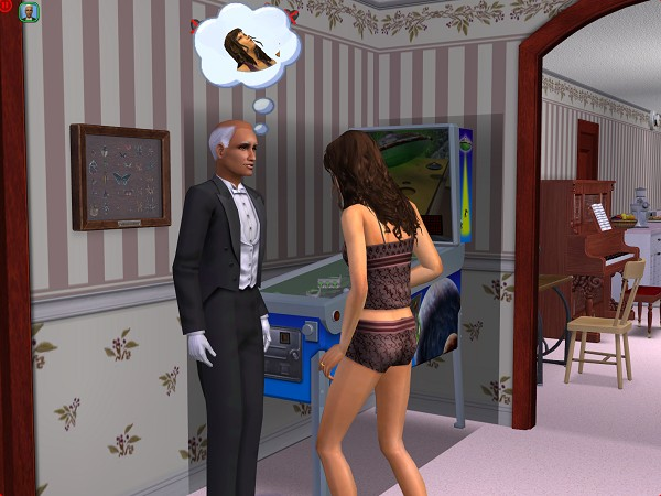 Eva corners the butler
