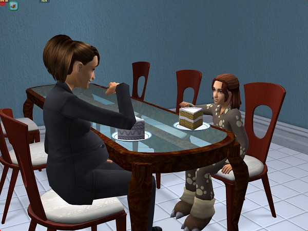 Lilly and Vanessa settle down to an evening meal