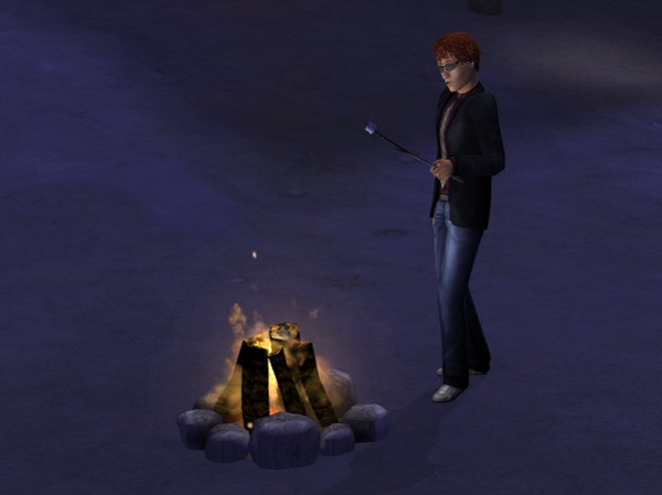 With campfires on the beach at night