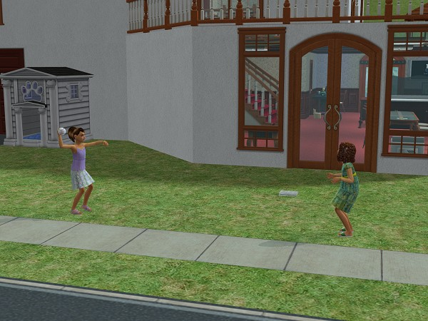 Lilly and Kylie Hale playing catch after school