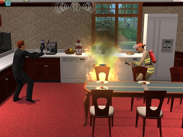 The butler sets the kitchen on fire