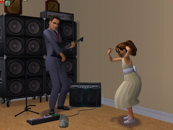 Aiden plays music for Bella to dance to