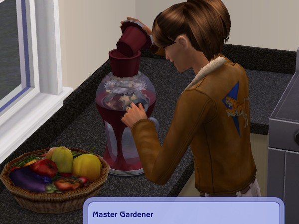 And completes her Gardening badge by drinking juice